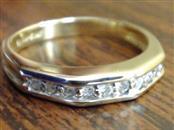 ESTATE DIAMOND ANNIVERSARY WEDDING ANGLE RING BAND 14K GOLD SZ 6.75